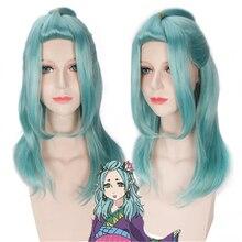 цена на Hoozuki No Reitetsu Okou 60cm Long Light Green Curly Wavy Synthetic Hair Cosplay Wigs for High Quality Anime Costume Party wig