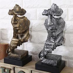 Resina silêncio é ouro escultura abstrata arte moderna escultura estátuas para decoração artesanato estatueta ornamento escritório decoração de casa