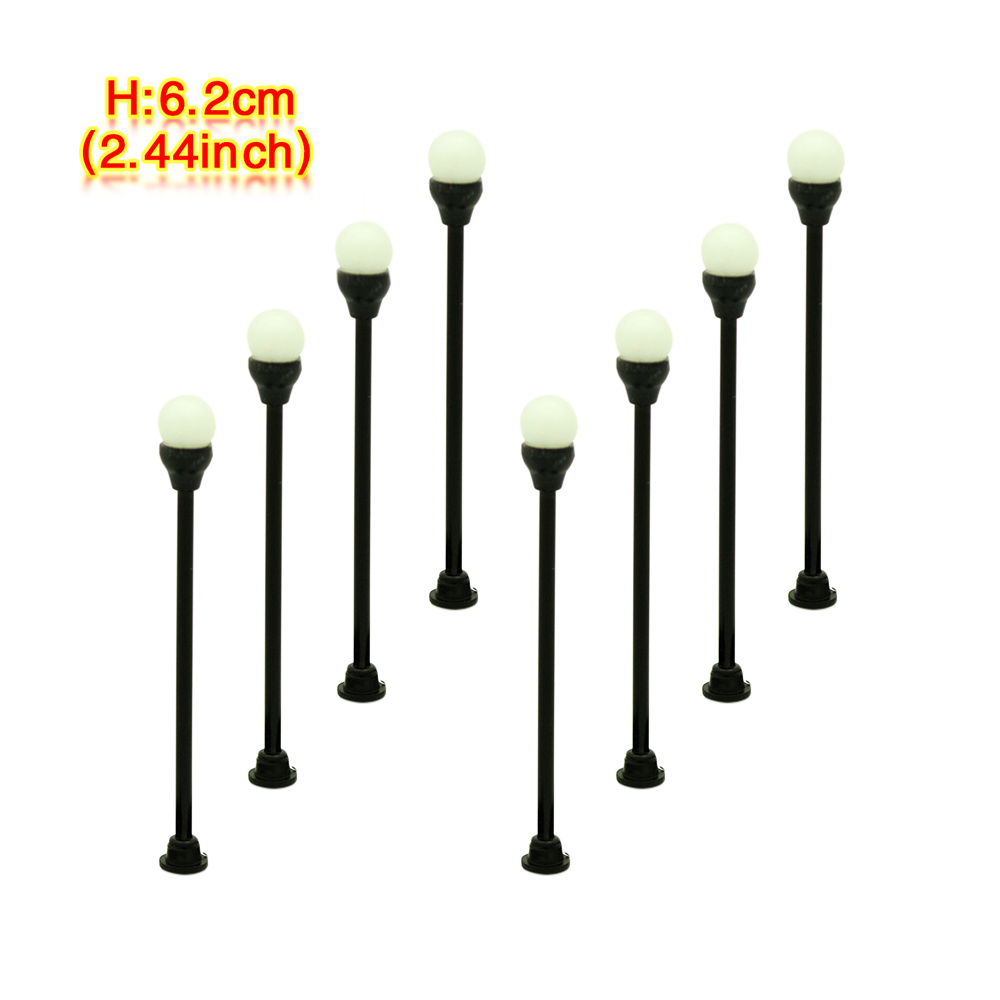 100pcs 6.2cm Diorama Scale Model Street Light Toys Architecture Black Lamppost Garden Lamp For Model Train Andscape Layout Kits