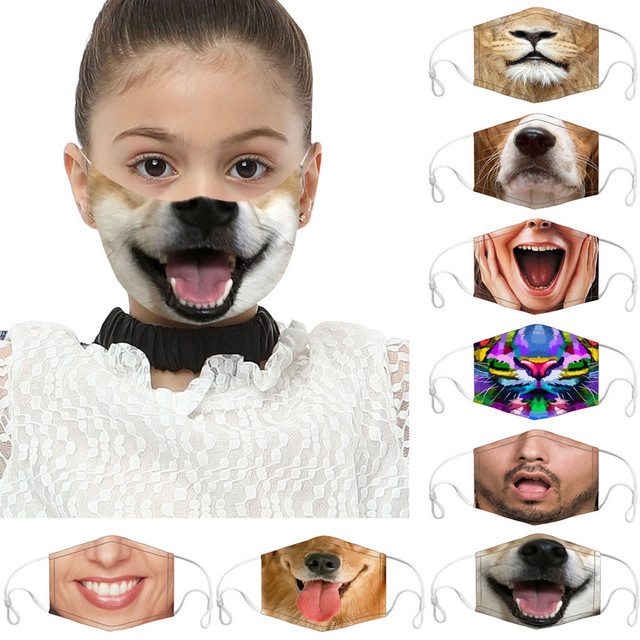 Festive Party Mask Kids Cartoon Cotton Mask Washable Keep Warm Dog smiling Pattern Dustproof Mask pantallas protectoras masque 1