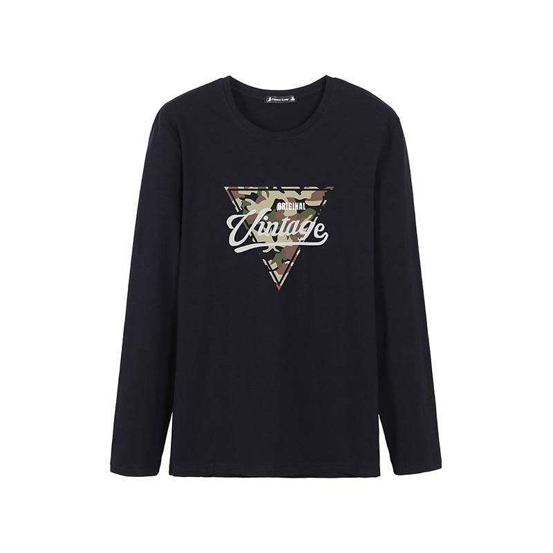 Pioneer Camp, футболка с длинными рукавами, мужские повседневные футболки с треугольным узором, Осенние футболки с вырезом лодочкой, эластичные подростковые футболки для мужчин, ACT901282 - Цвет: Black