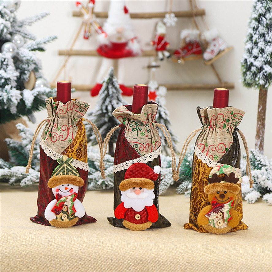US $2 96 OFF New Christmas Party Table Decor Wine Bottle Cover 1PC Christmas Snowman Wine Bottle Bag Cover Home Party Table Decor 0926 30 Wine