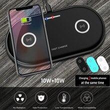 Cargador inalámbrico Qi de 20W para Airpods iPhone 11 Pro Xiaomi mi 10 Dual, alfombrilla de carga rápida de 10W para Samsung s20, cargador de inducción