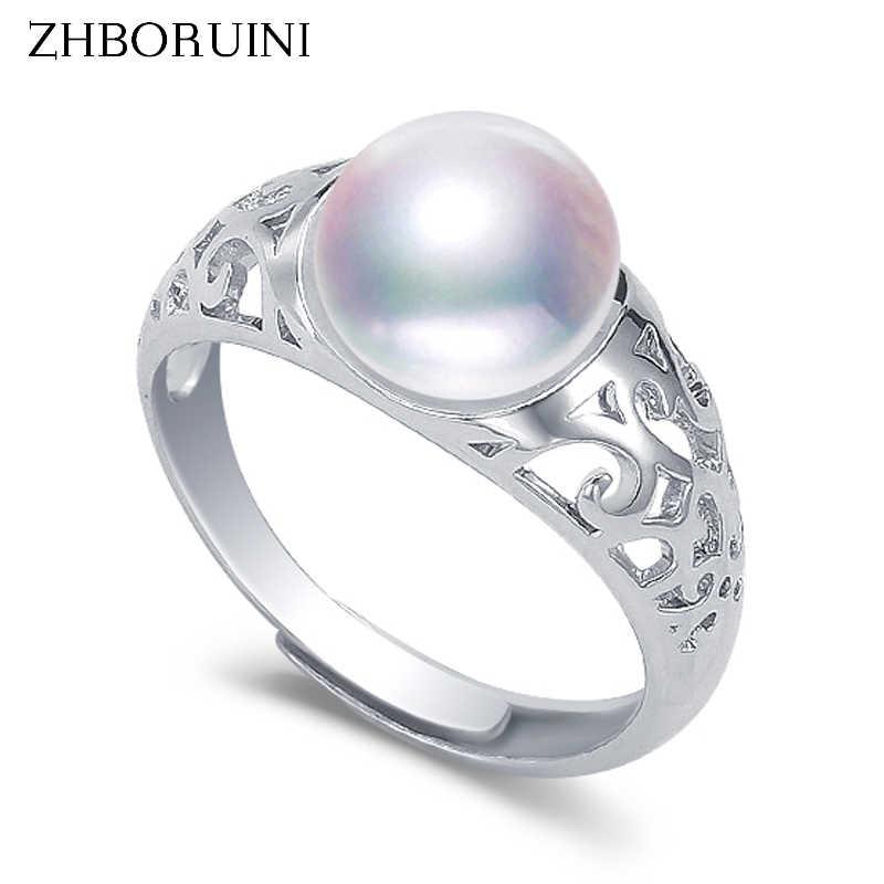 ZHBORUINI แหวนไข่มุกไข่มุกน้ำจืดธรรมชาติ Retro 925 เงินสเตอร์ลิงแหวนคุณภาพดีเครื่องประดับสำหรับผู้หญิง Drop Shipping G