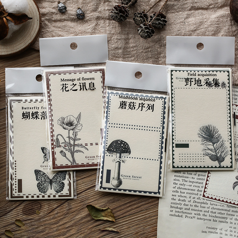 Mohamm 12 Sheets/lot Green Forest Plant Flower Notepad Memo Pad Note Memo Sheets Stationery Office Supplies