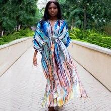 2020 Bohemian Printed Tropical Summer Beach Dress Muticolored Chiffon Tunic Women Plus Size Beachwear Maxi Dress Robe plage N918