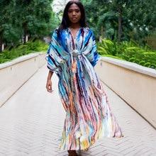 2020 โบฮีเมียนพิมพ์Tropicalฤดูร้อนชุดชายหาดหลากสีชีฟองผู้หญิงPlusขนาดBeachwear Maxi Robe Plage N918