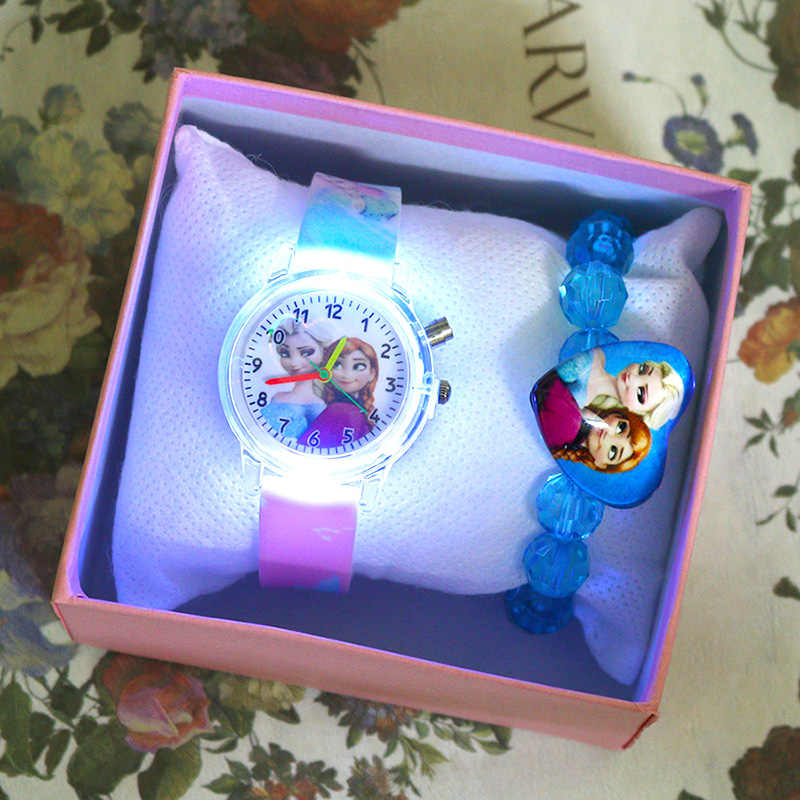 Princess Girls Watch with Bracelet sorgente luminosa colorata Cartoon Kids Watches orologio da polso da polso reloj infantil Relogio Feminino