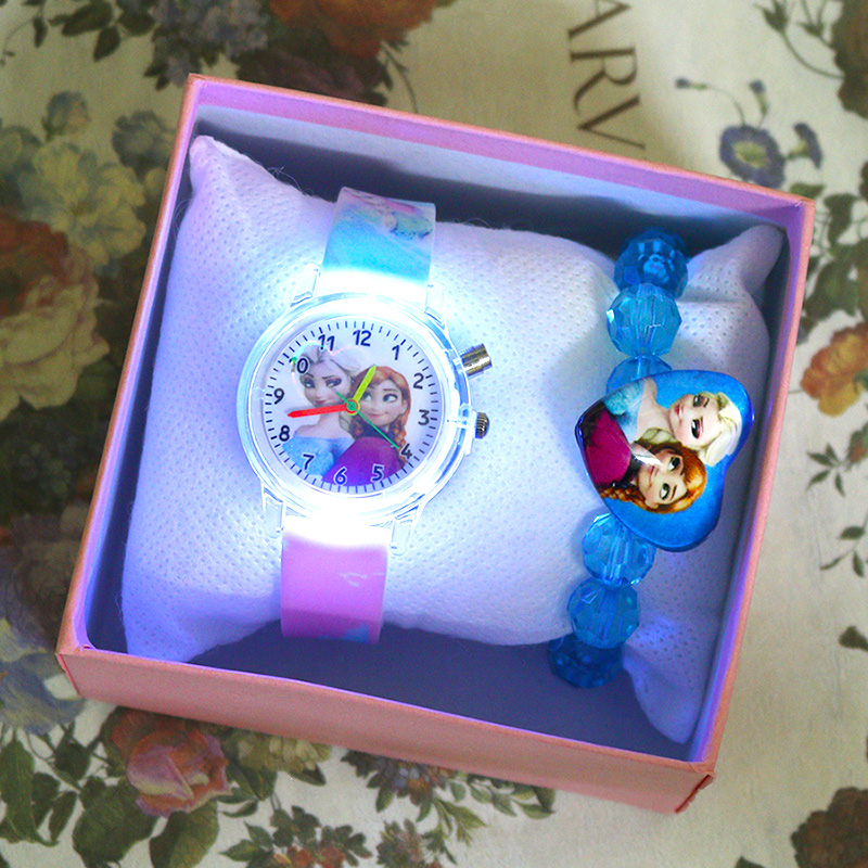 Princess Girls Watch With Bracelet Colorful Light Source Cartoon Kids Watches Party Clock Wrist Reloj Infantil Relogio Feminino