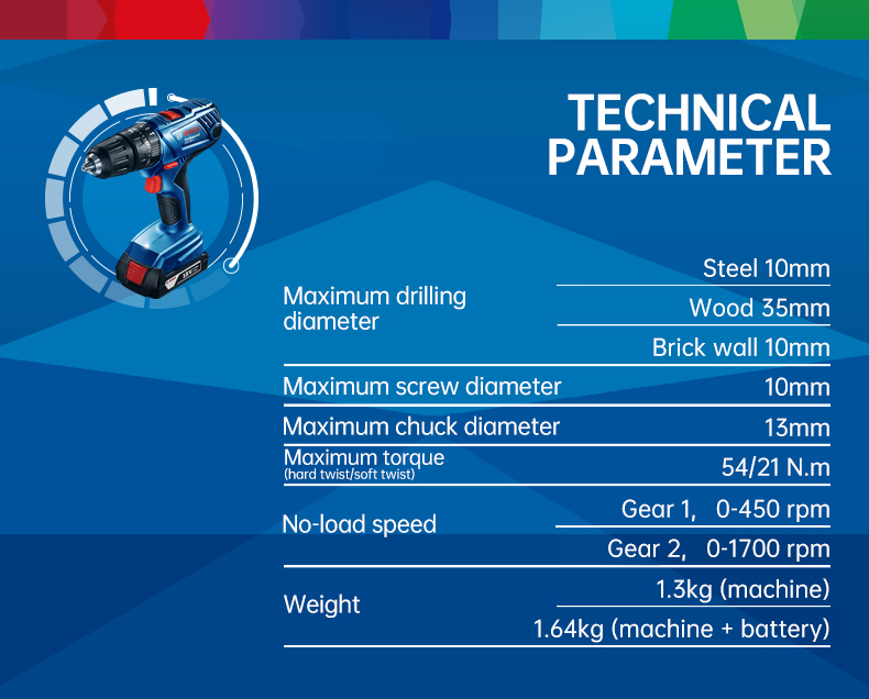 Technical Parameter of Bosch Cordless Electric Drill Driver