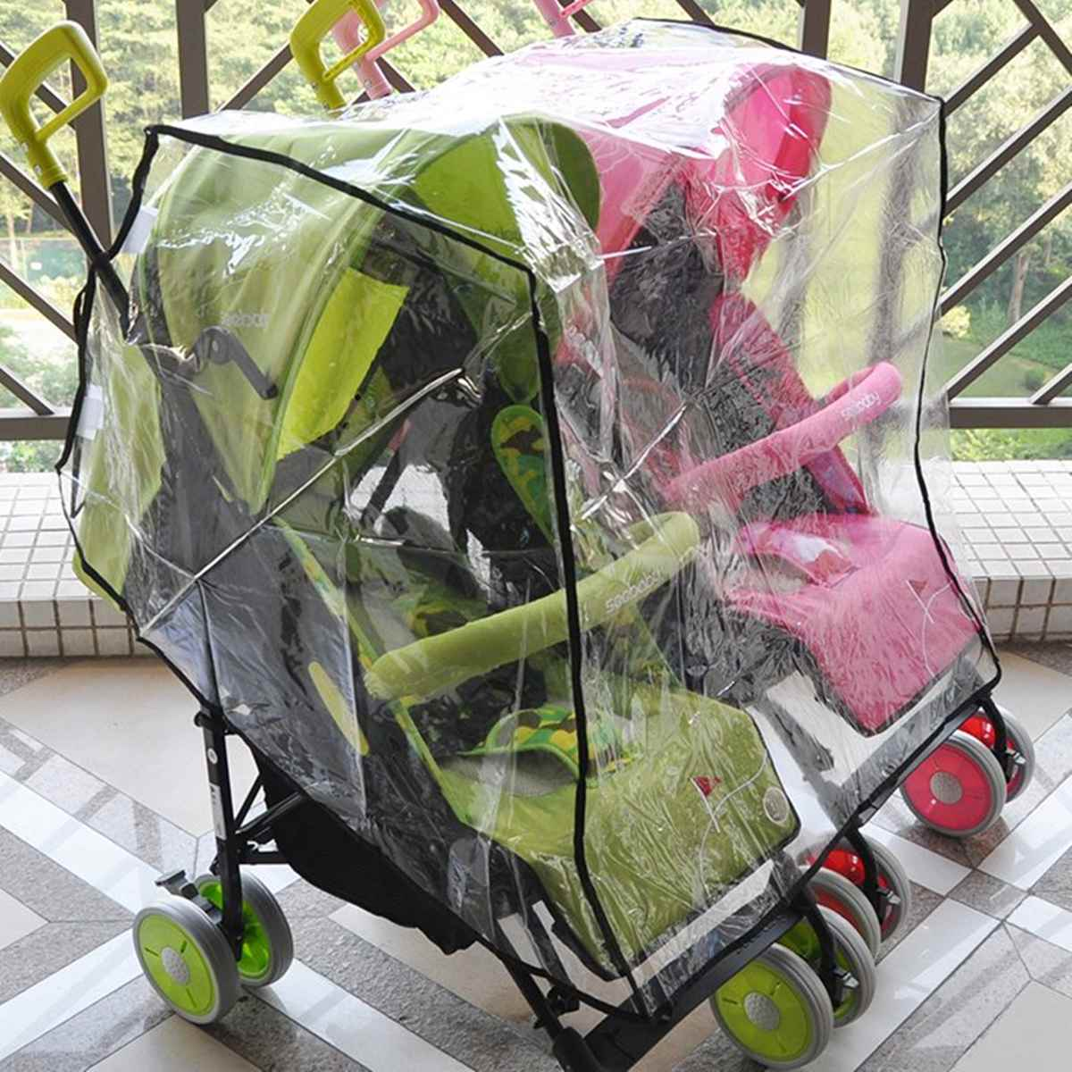 Rain Cover Stroller Protection Twins Baby Waterproof Trolley With Universal Double Sitting Side By Side Stroller Accessories