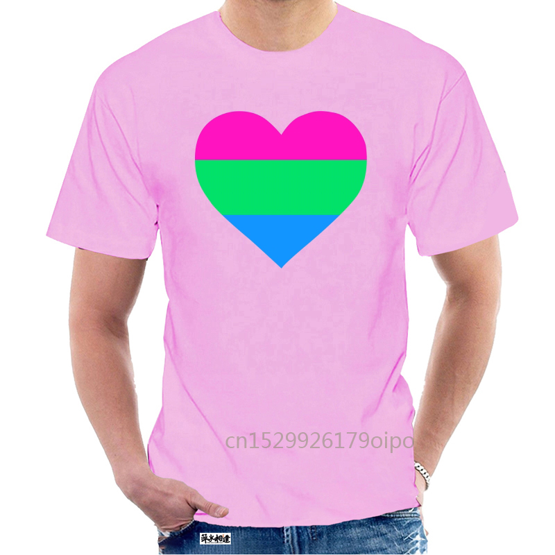Designs Polysexual Flag, Lgbt, Love Heart Pocket Print, Pr Men Tshirt O Neck Clothes Famous Women Tshirts Hiphop @078856