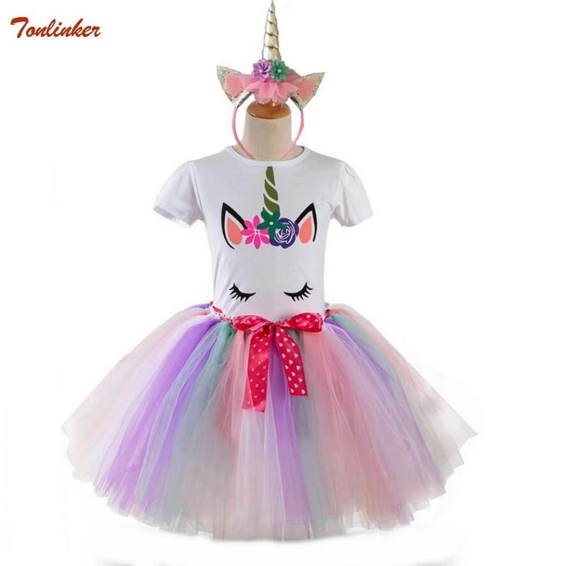 Tulle Skirt Set Baby Kids Girls Unicorn Princess Dress Outfits T-shirt Tops