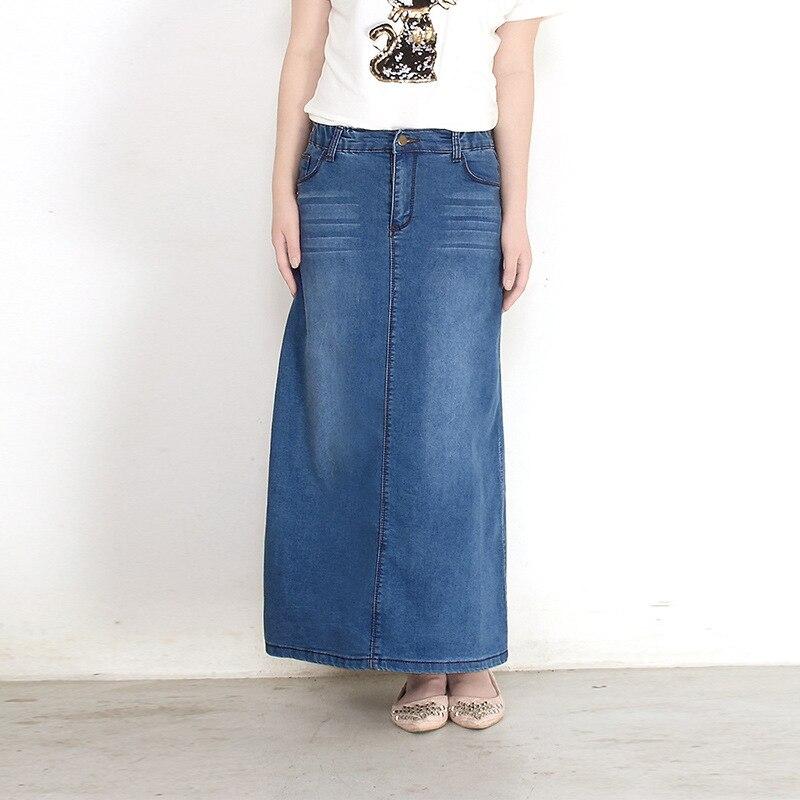 Long Denim Skirt High Waist A-line Ankle Skirts Women Summer New Arrivals Single Button Pockets Blue Jean Skirt Style Saia Jeans