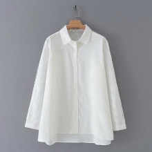 white blouse Casual Shirts for Women New Autumn Style Loose Long Blouse women tops KKFY3925