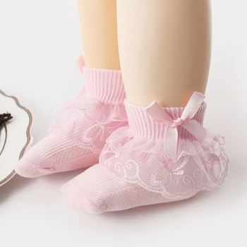 Free Shipping Baby Girl Cute Socks Cotton Lace Ruffled Bow Princess Party Toddler Children Socks Kids Accessories image