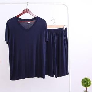 Image 5 - Summer Modal Pajama Sets Thin Short Sleeve T shirt Shorts Sleepwear Mens Casual Set 2 Piece V Neck Solid Color Home Clothing