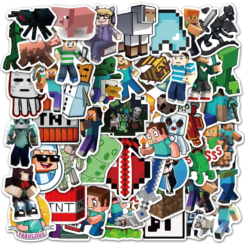 50PCS graffiti stickers game mine pvc waterproof stickers decal for laptop computer craft luggage guitar skaterboard fridge