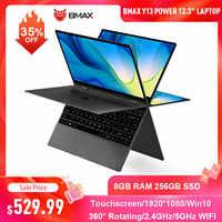 BMAX-ordenador portátil Y13 Power de 13,3 pulgadas, Intel Core, 8GB RAM, 256GB, SSD, pantalla táctil Win10, giro de 360 grados, 1080P, IPS, Notebook, teclado de retroiluminación