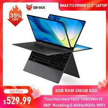 Ноутбук BMAX Y13 Power, 13,3 дюйма, Intel Core 8 ГБ ОЗУ 256 Гб SSD, сенсорный экран, Win10, вращение на 360 градусов, 1080P IPS, клавиатура для ноутбука с подсветкой