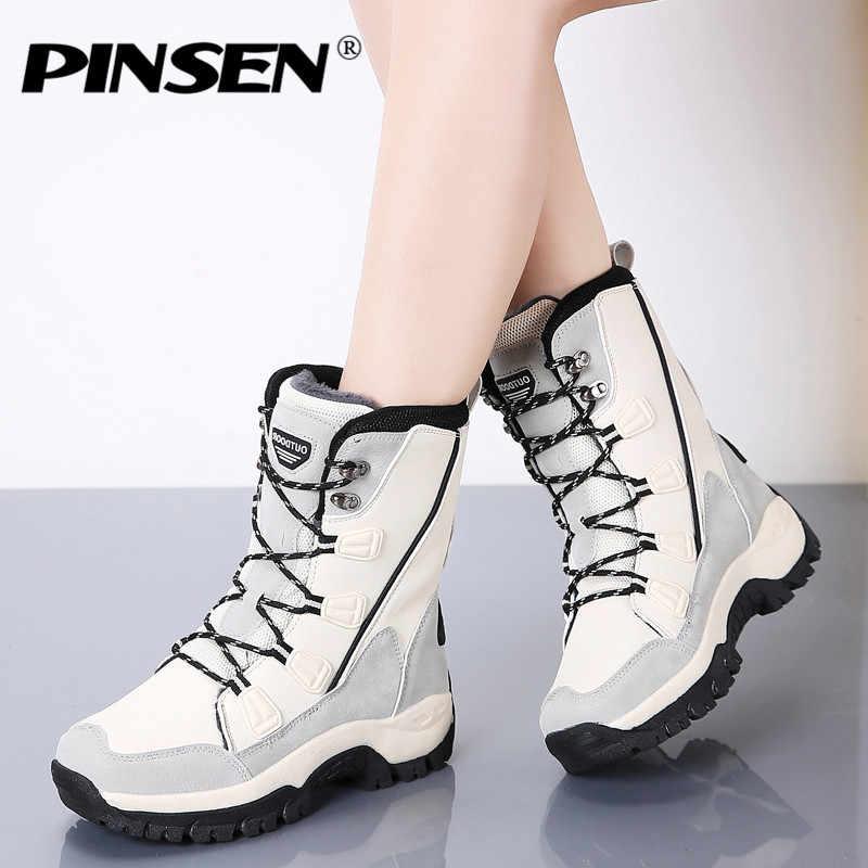 PINSEN 2019 Moda Bayan Botları Yüksek Kaliteli Orta Buzağı Kış Kar Botları Kadın dantel-up Rahat Açık Olmayan kaymaz yağmur çizmeleri