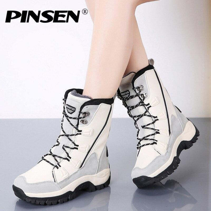 PINSEN 2019 moda mujer botas alta calidad Mediados de pantorrilla invierno botas de nieve mujeres encaje-up cómodo al aire libre no -Botas de lluvia deslizantes