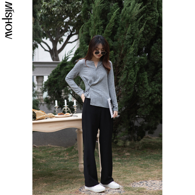 MISHOW 2020 Spring Pants For Women Elastic Solid High Waist Loose Straight Streetwear Fashion Female Trousers MX21A2673 5