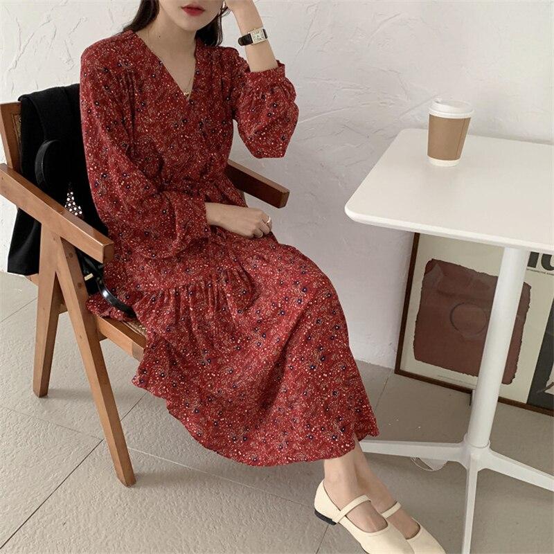 H88e36ed00c264d7a8fa7310287886868x - Autumn V-Neck Lantern Sleeves Waist-Controlled Floral Print Midi Dress