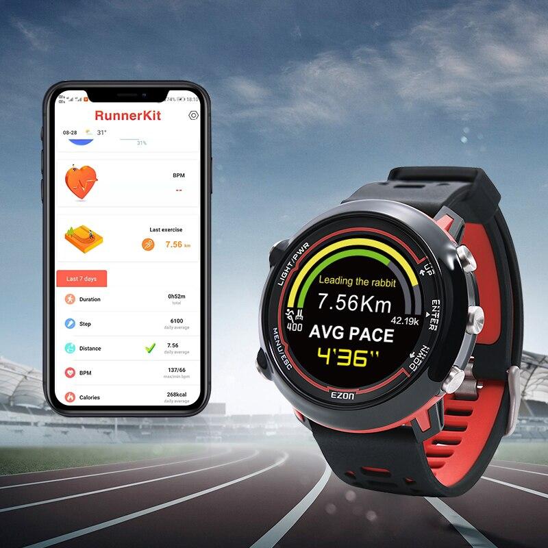 Inteligentny z systemem GPS zegarek sportowy z kolorowym wyświetlaczem i tętna na nadgarstku na świeżym powietrzu 5ATM wodoodporna EZON E2 w Zegarki cyfrowe od Zegarki na  Grupa 2