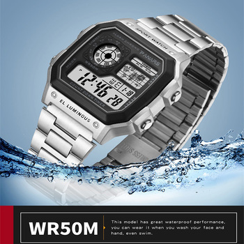 PANARS Watch Men Women Sport Relogio Masculino Digital Watches Chronograph Waterproof Watch Stainless Wristwatches Male Clock 5