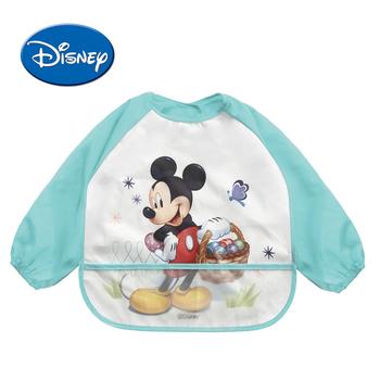 Disney wodoodporne śliniaki dla dzieci z długim rękawem Cartoon bawełna Minnie Bib Burp ubrania Baberos Baby Stuff Disney akcesoria tanie i dobre opinie Moda Unisex Śliniaki i burp płótna 0-3 M COTTON Mickey Minnie Princess