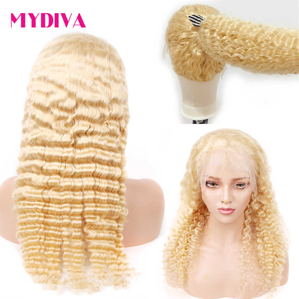 613 Lace Front Wig Deep Wave Honey Blonde Lace Front Human Hair Wig Pre Plucked Transparent Lace Glueless Lace Wigs Remy Hair