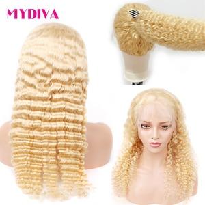 Perruque Lace Front Wig Deep Wave naturelle Remy | Cheveux humains, sans colle, pre-plucked, Lace transparente, blond miel 613