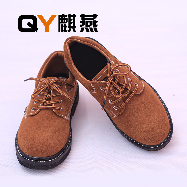 Steel Head Men And Women Safety Shoes Smashing Stab Tire Solid Bottom Cowhide Electric Welding Shoes