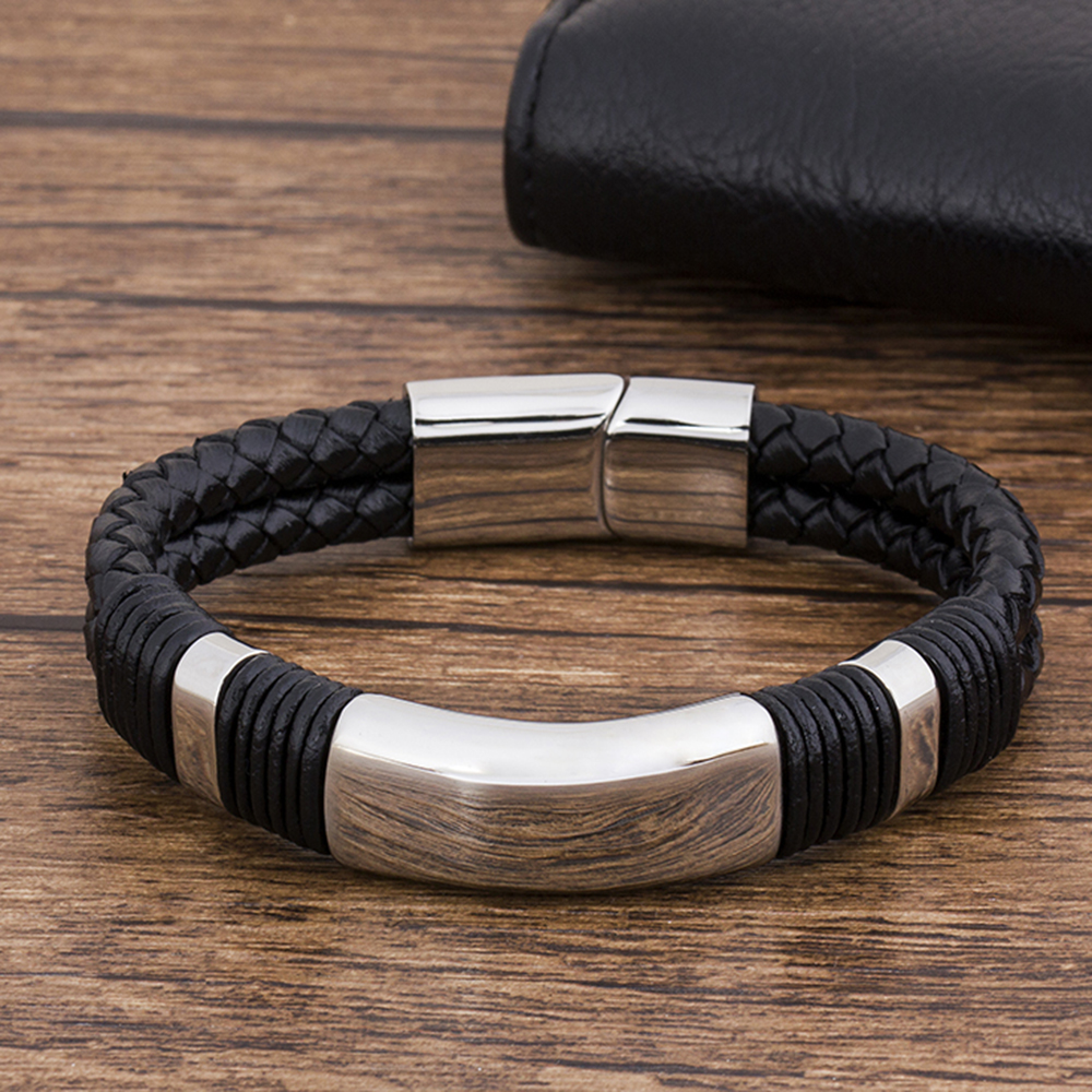 New Fashion Stainless Steel Braided Black Genuine Leather Bracelet Men Magnetic Rope Punk Accessories Luxury Jewelry