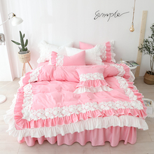 100%Cotton Bedding Set with Lace Pink Color Bed Cover Sets for Girls Single Queen King Size Bed Skirt Comforter Cover Bed Sets