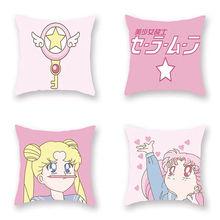 Dwustronnie Sailor Moon drukowane poduszki rzucać poduszkami do dekoracji pokoju Sofa Sailor Moon Style powrót krzesło poduszki dropshippng tanie tanio Cusion Zdejmować i prać Japan style Prostokąt W paski COTTON Poliester bawełna Dzieci 40X40cm 45X45cm