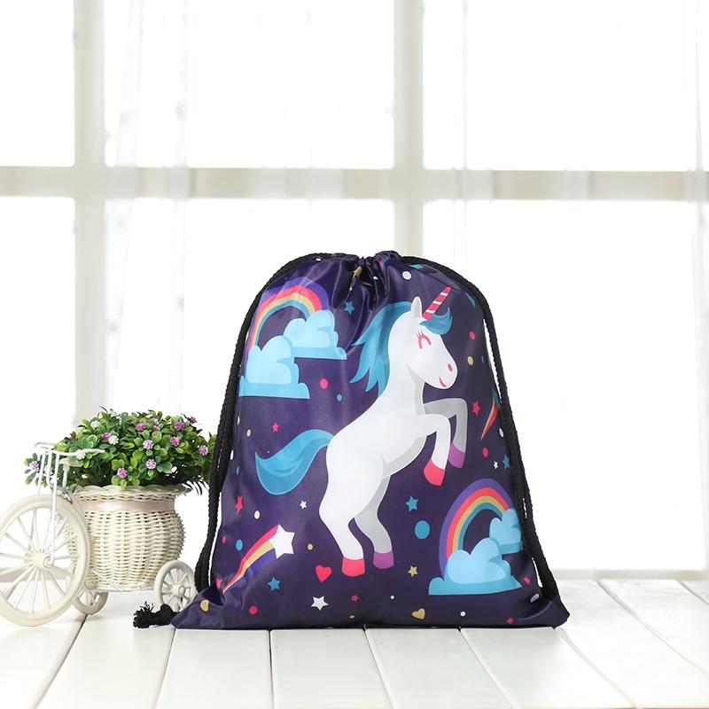 Drawstring Backpack Fashion Women 3D Printing Travel Knapsack Men Casual Bags Unisex Women's Shoulder Drawstring Unicorn Bag New