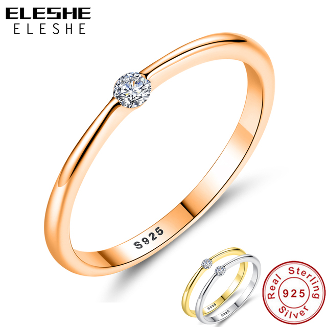 ELESHE Clear CZ Crystal Rose Gold Ring 925 Sterling Silver Classic Round Finger Rings for Women Wedding Ring Silver 925 Jewelry