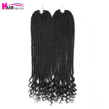 цена на 18Inch Straight Goddess Hair Faux Locs Crochet Hair Synthetic Braiding Hair Extensions With Curly Ends 12Strands Hair Expo City