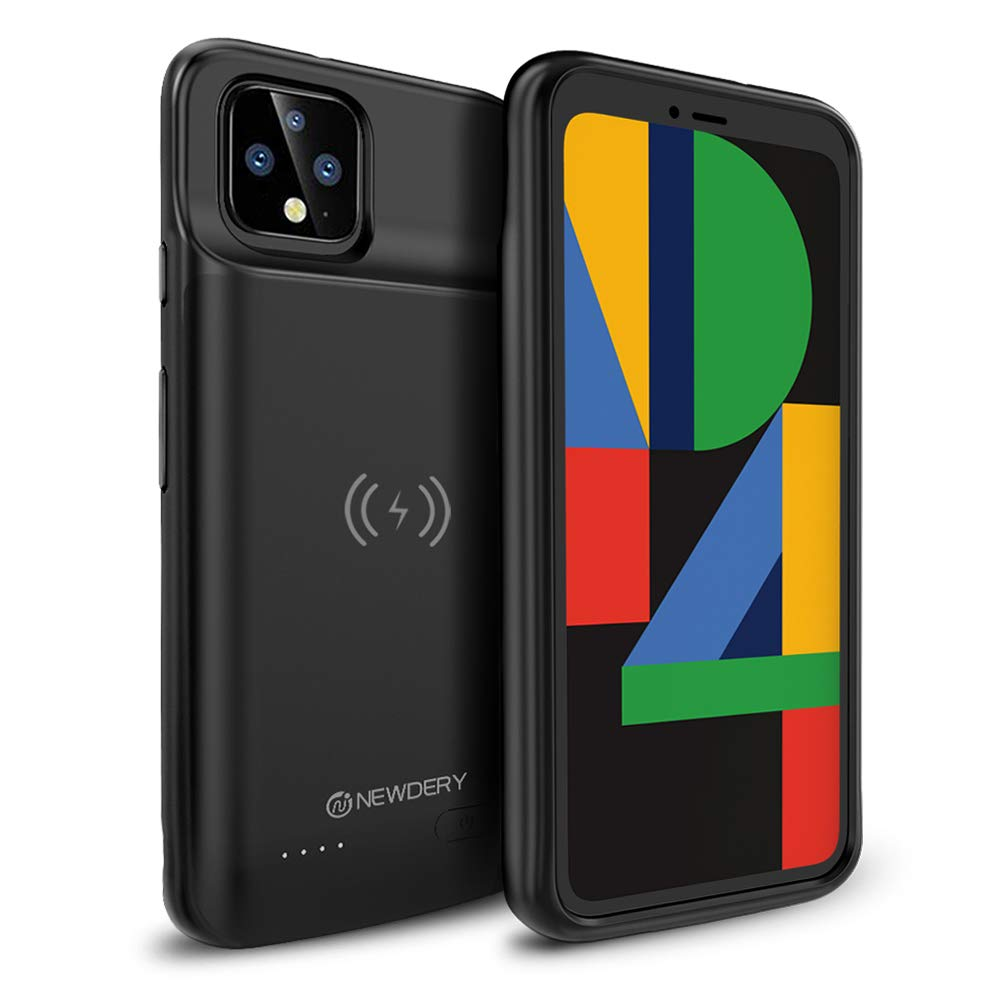 NEWDERY For Google Pixel 4 Battery Case, Qi Wireless Charging Compatible 5000mAh Slim External Charger Case For Pixel 4