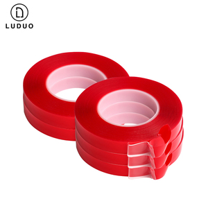Image 3 - LUDUO pegatinas de doble cara para coche, cinta adhesiva de doble cara roja, acrílica transparente, sin huellas, para Exterior y fija, 3M