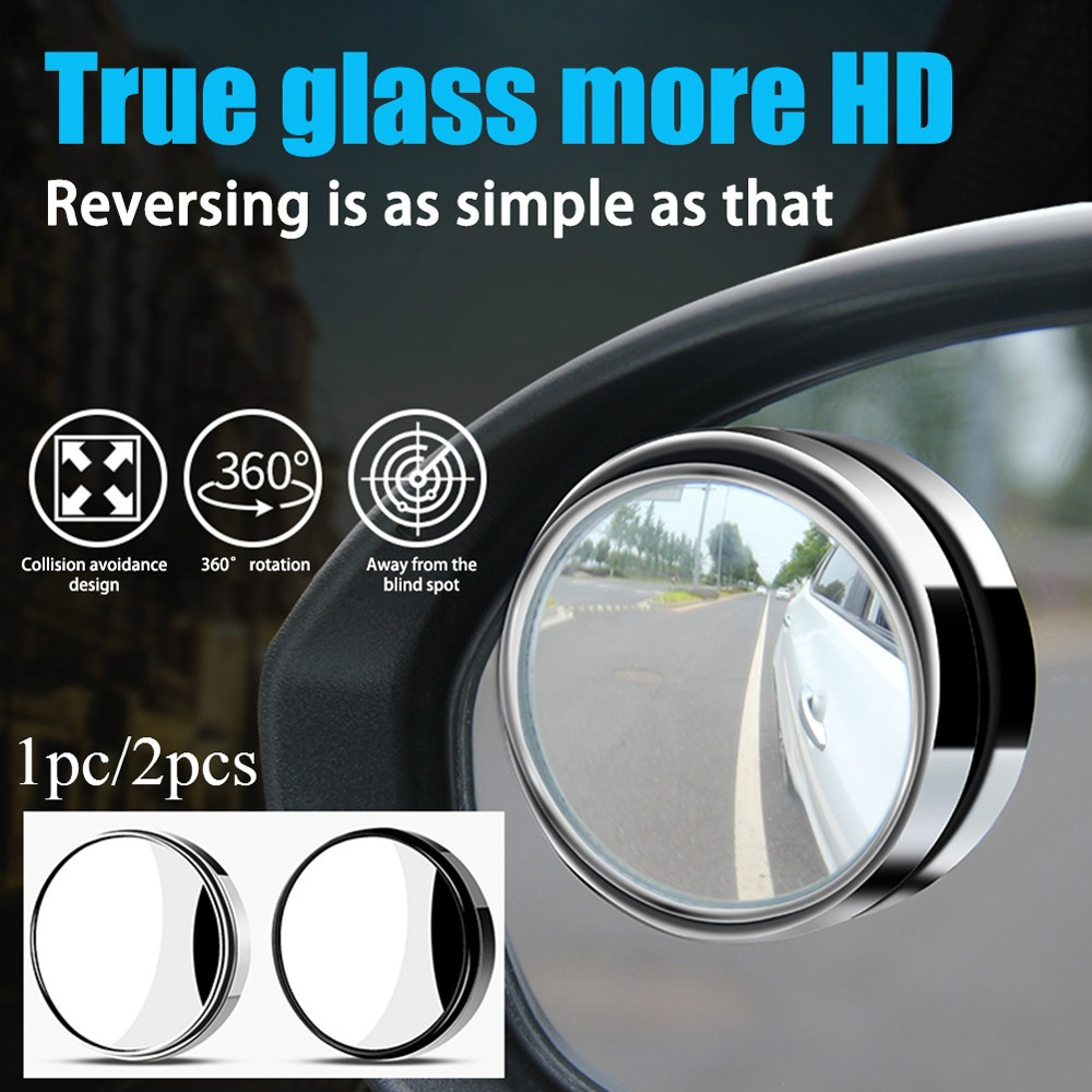 1Pcs/2pcs 360-degree Wide Angle Adjustable Rotation Round Car Rearview Auxiliary Blind Spot Mirror Car Accessories