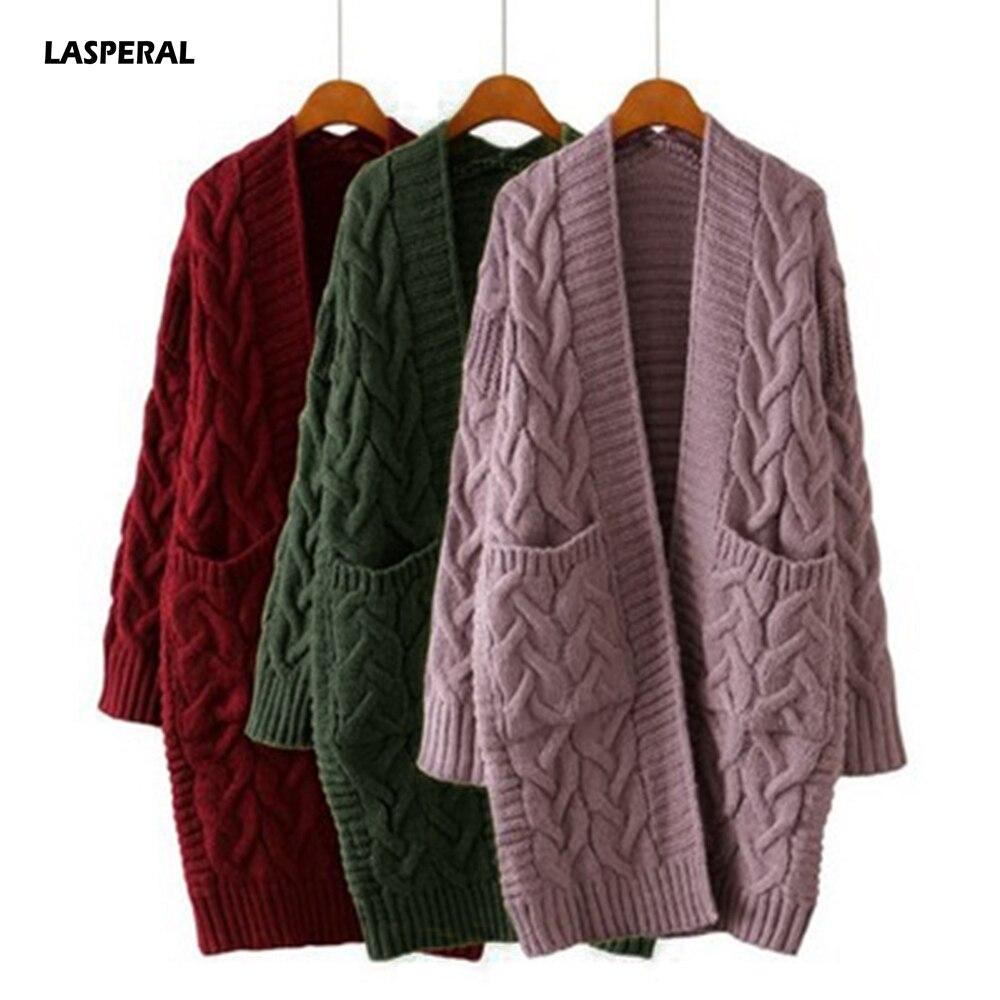 LASPERAL קוריאני חורף נשים חדש 2020 רופף ארוך שרוול לסרוג סוודר קרדיגן מעיל עבה חורף נשים אפודות סוודר