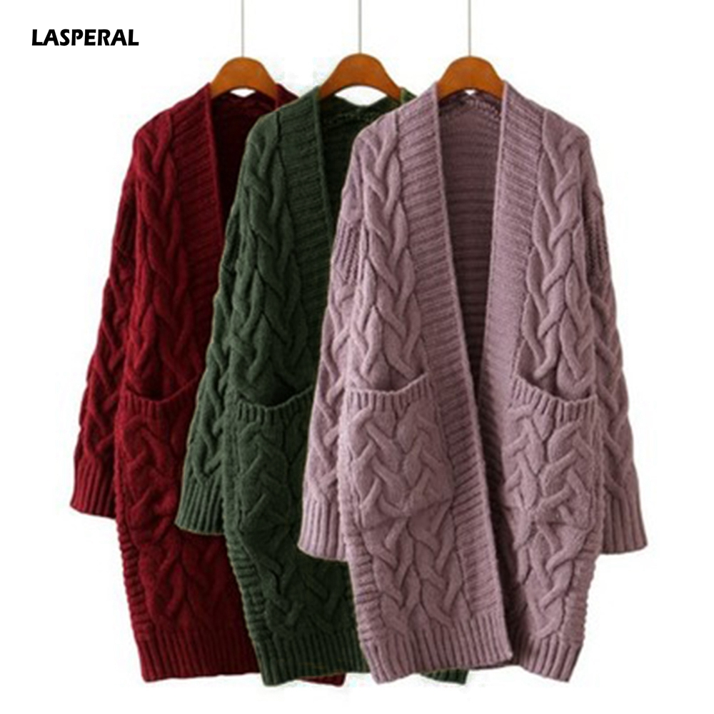 LASPERAL Korean Winter Women's New 2020 Loose Long Sleeve Knit Sweater Cardigan Coat Thick Winter Women Cardigans Sweater