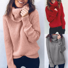 Повседневный женский свитер с высоким воротом на весну и осень, Женский вязаный свитер, пуловеры с длинными рукавами, джемпер, Топ