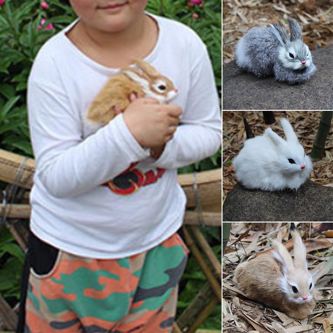 Kids Toys Decorations Birthday Gift Simulation mini pocket toy Cute Artificial Animal Small Rabbit Plush Toys With a frame in Stuffed Plush Animals from Toys Hobbies