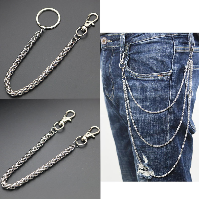 Fashion Necklace Stainless Steel Long Metal Wallet Chain Leash Pant Jean Keychain Ring Clip Men