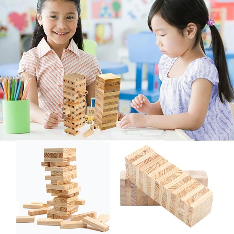 Kids Blocks Wooden Stacking Tumbling Tower Game Like Kids Family Traditional Board baby toys|Blocks|   - AliExpress