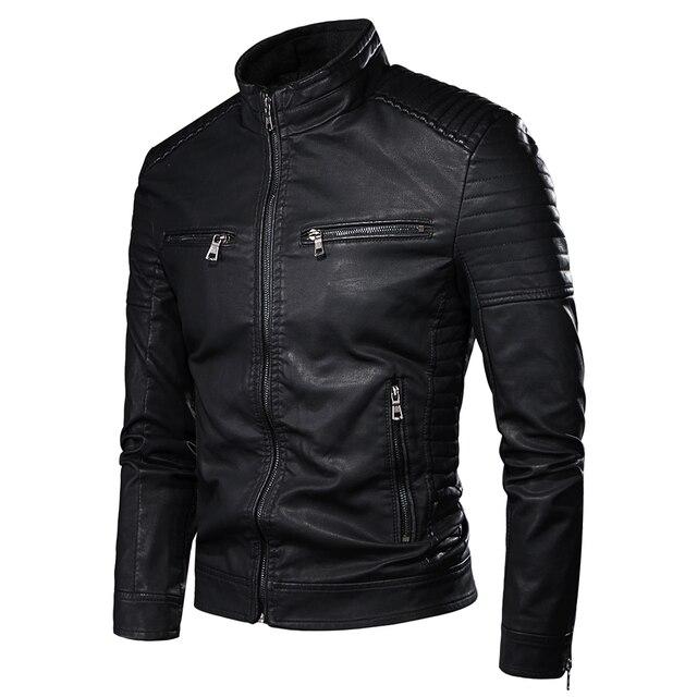 Luulla Men Spring Brand New Causal Vintage Leather Jacket Coat Men Outfit Design Motor Biker Zip Pocket PU Leather Jacket Men 2